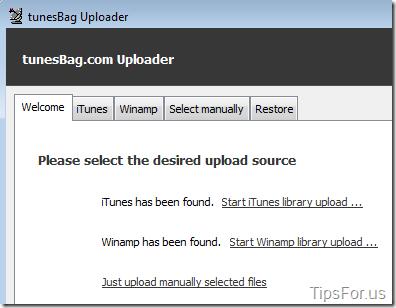 TunesBag - Desktop Uploader