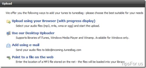 TunesBag - Upload Options