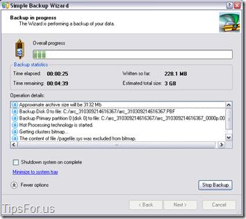 Paragon Drive Backup Express - Backup in Progress