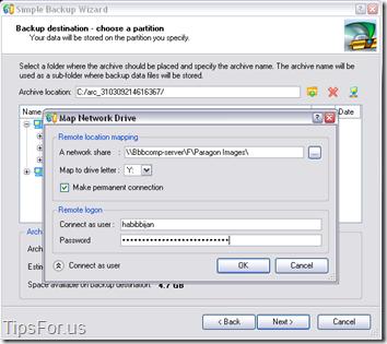 Paragon Drive Backup Express - Map Network Drive