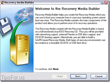 Paragon Drive Backup Express - Recovery Media Builder
