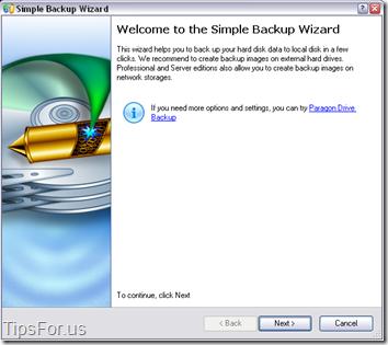 Paragon Drive Backup Express - Simple Backup Wizard