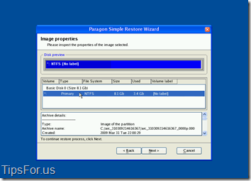 Paragon Drive Backup Express - Simple Restore Wizard 2