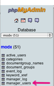 phpMyAdmin lists all tables on the left-hand side