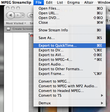 MPEG Streamclip - File Menu