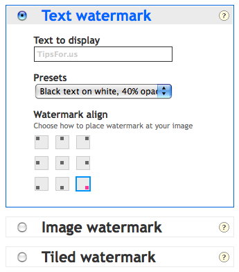 PicMarkr - watermark types