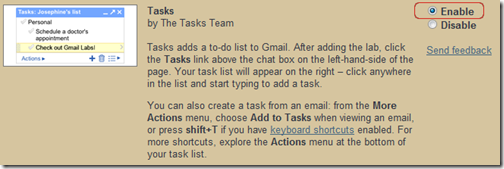 Gmail Tasks - Enable