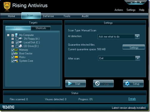 Rising Antivirus - Custom Scan