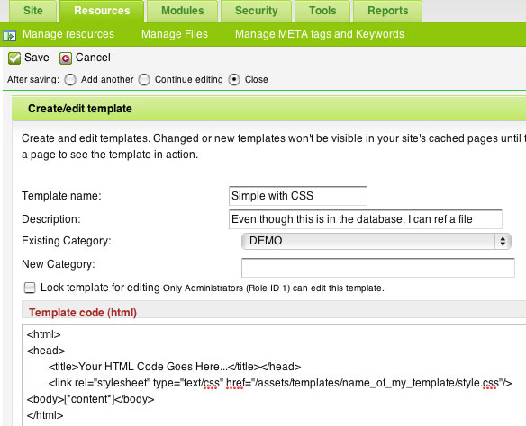 You upload the template code to the database, but it still can reference files on the webserver
