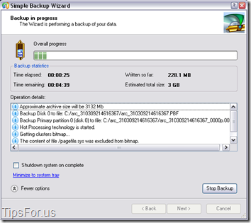 Paragon Drive Backup Express - Backup in Progress