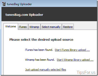 TunesBag - Desktop Uploader